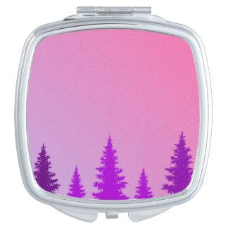 紫色の森林正方形のコンパクトの鏡