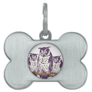 紫色の様式化された幾何学的なフクロウ家族 ペットネームタグ
