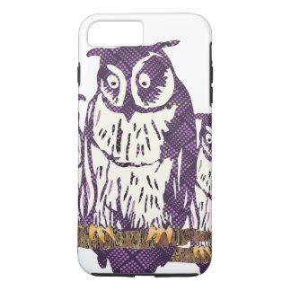 紫色の様式化された幾何学的なフクロウ家族 iPhone 8 PLUS/7 PLUSケース