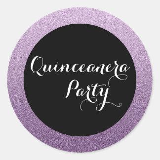 紫色の模造のなグリッターのキンセアニェラの好意のシールのステッカー ラウンドシール