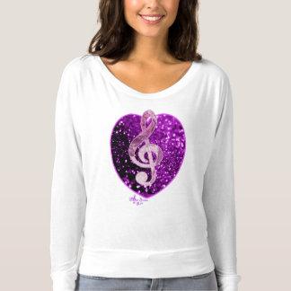 紫色の模造のなグリッターのハートフランスのな音楽ト音記号 Tシャツ