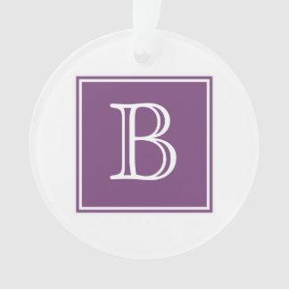 紫色の正方形のモノグラムのアクリルのオーナメント オーナメント