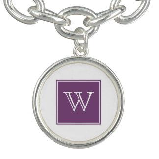 紫色の正方形のモノグラムのチャームブレスレット ブレスレット