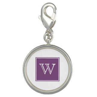 紫色の正方形のモノグラムのチャーム チャーム
