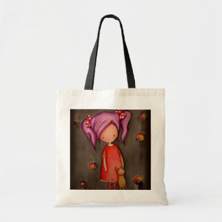紫色の毛小さな女の子および猫のトートバック トートバッグ