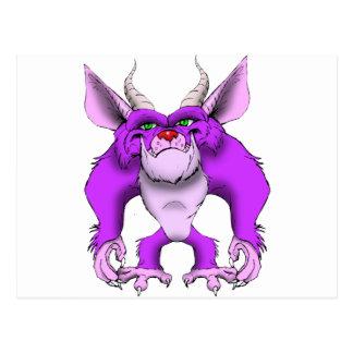 紫色の毛深いモンスター ポストカード