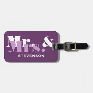 紫色の氏および夫人旅行荷物は新婚者のために付きます ラゲッジタグ