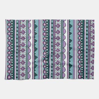 紫色の民族パターン キッチンタオル