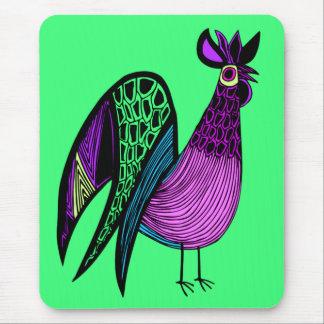 紫色の民芸のオンドリ マウスパッド