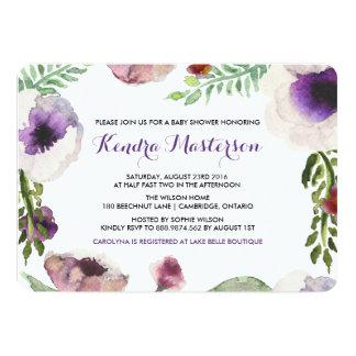 紫色の水彩画のアネモネのベビーシャワーの招待状 12.7 X 17.8 インビテーションカード
