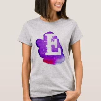 紫色の水彩画のカスタムなモノグラム Tシャツ