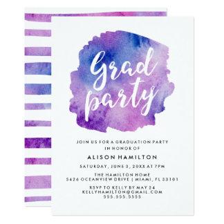 紫色の水彩画の卒業パーティー 12.7 X 17.8 インビテーションカード