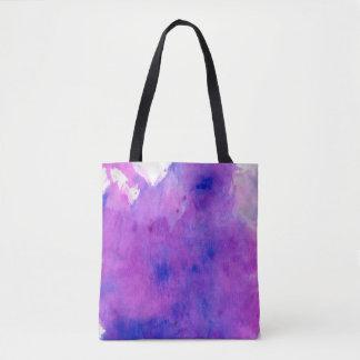 紫色の水彩画の染み トートバッグ