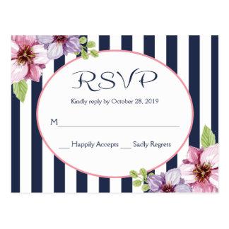 紫色の水彩画の花の濃紺のストライプの結婚 ポストカード
