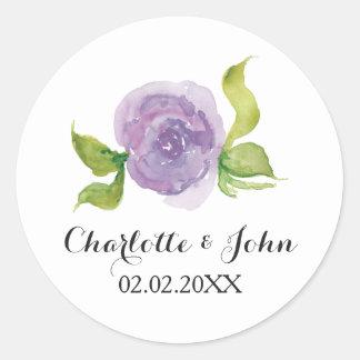 紫色の水彩画の花柄の結婚式用シール 丸型シール