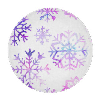 紫色の水彩画の雪片のクリスマスのデザイン カッティングボード