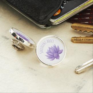 紫色の水彩画のSucculentのラペルピン ラペルピン