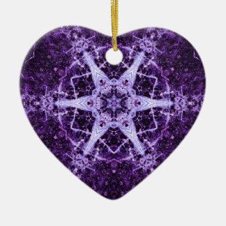 紫色の水晶宝石のハートの記憶オーナメント セラミックオーナメント