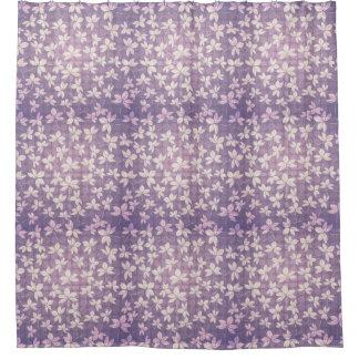 紫色の水玉模様および薄紫の葉 シャワーカーテン