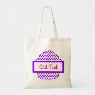 紫色の水玉模様のカップケーキの戦闘状況表示板 トートバッグ