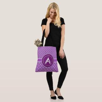 紫色の水玉模様のクローバー トートバッグ
