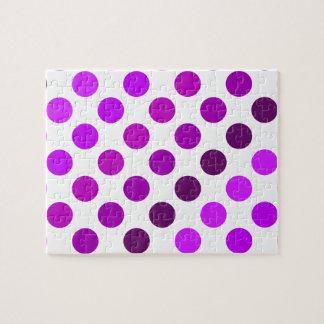 紫色の水玉模様のストライプ ジグソーパズル