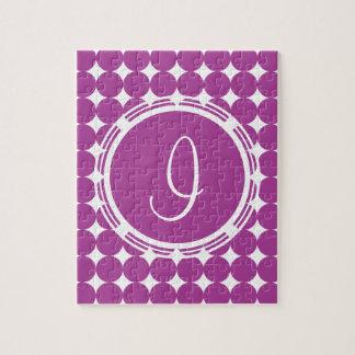 紫色の水玉模様のモノグラム ジグソーパズル