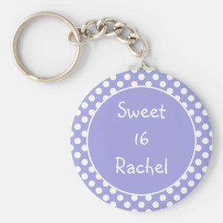 紫色の水玉模様の菓子16 Keychain キーホルダー