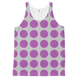 紫色の水玉模様の銀 オールオーバープリントタンクトップ