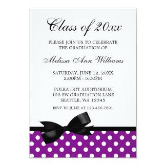 紫色の水玉模様の黒の弓卒業の発表 カード