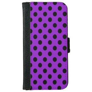 紫色の水玉模様の黒 iPhone 6/6S ウォレットケース