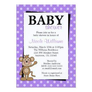 紫色の水玉模様猿のベビーシャワー招待状 カード