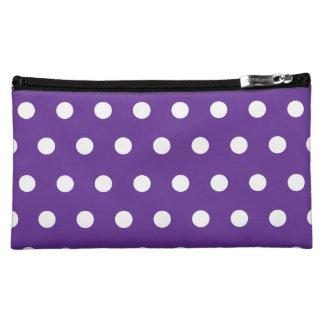 紫色の水玉模様 コスメティックバッグ