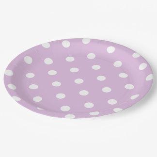 紫色の水玉模様 ペーパープレート