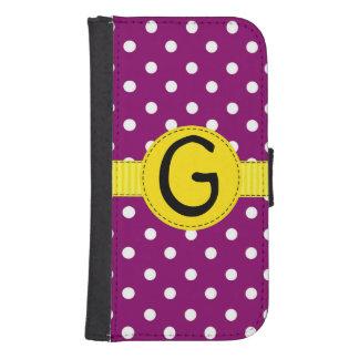 紫色の水玉模様、黄色いリボン、財布のスタイル 財布型Galaxy S4ケース