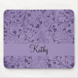 紫色の汚い花柄 マウスパッド