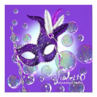 紫色の泡紫色のSweet sixteenの仮面舞踏会 カード