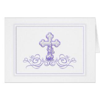 紫色の洗礼第1の聖餐のサンキューカード カード