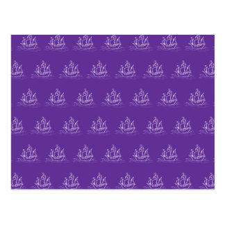 紫色の海賊船パターン ポストカード