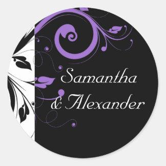 紫色の渦巻のアクセントと白黒 ラウンドシール