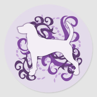 紫色の渦巻のイングリッシュ・フォックスハウンド ラウンドシール
