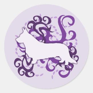 紫色の渦巻のカーディガンのウェルシュコーギー 丸形シールステッカー