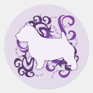 紫色の渦巻のノリッジテリア ラウンドシール