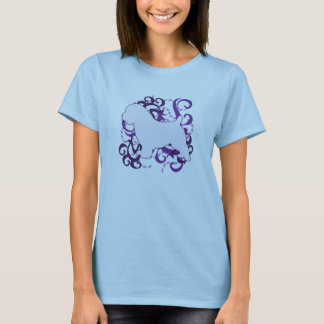 紫色の渦巻のノーフォークテリア Tシャツ