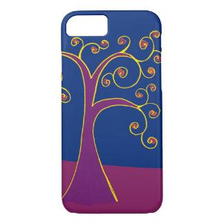 紫色の渦巻の木の電話箱 iPhone 8/7ケース
