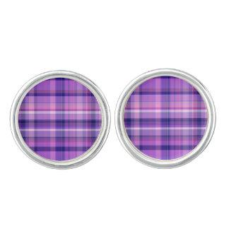 紫色の濃紺の綿菓子のピンクマドラス カフリンクス