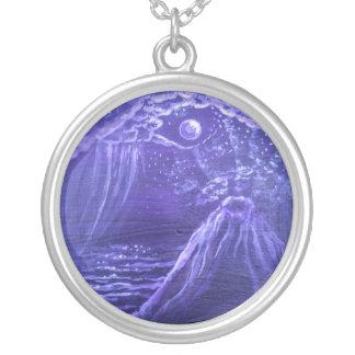 紫色の火山 シルバープレートネックレス