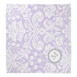 紫色の灰色のダマスク織パターンモノグラムのバンダナ バンダナ