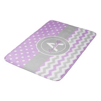紫色の灰色の水玉模様シェブロン バスマット