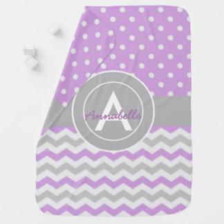 紫色の灰色の水玉模様シェブロン ベビー ブランケット